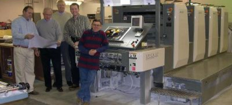 The University Of Iowas New Four Color Komori Spica 29P Perfector Press With It Are From Left Allen Bales Plant Supervisor Steve Wilson Printing