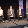Moderator Elizabeth Gooding (left) interviewed inkjet users Tim Cooper, Harland Clarke; Jim Jackson, Quad/Graphics; and Kirk Schlecker, Heeter.