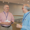 Todge Sutkowski (Community College of Philadelphia) chats with Ward Patterson (Principia College) in between sessions.