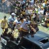 Penguins players greet fans.