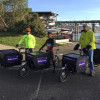 In-plant Receives $88,000 Sustainability Grant: Ready to head out on a mail delivery on UW Mailing -Services' new electric-assist Bullitt cargo bikes are (from left) Brent McCord, David Williams and Jason Brien.