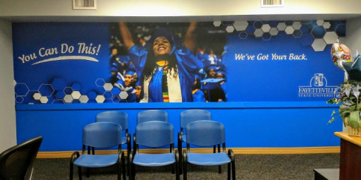 Fayetteville State University's in-plant charges $2-3 per square foot of installed material for wall coverings and other straightforward jobs, says Gary Warren, print services supervisor.