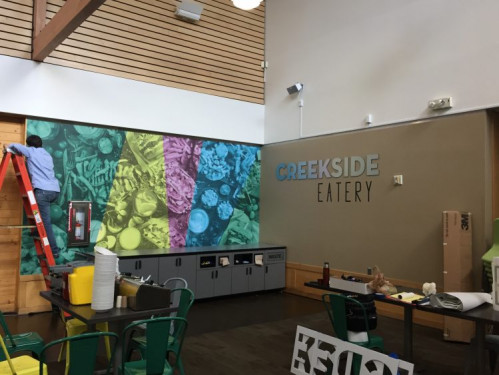 The University of Alaska Anchorage in-plant's installation services include signage for campus dining spots and specialty displays for offices and student centers.