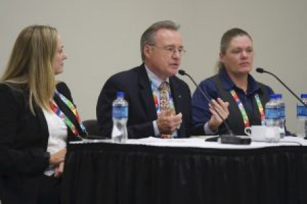 The panelists from left, Sherri Isbell, University of Oklahoma; Richard Beto, University of Texas at Austin; and Melynda Crouch, Texas Tech HSC.