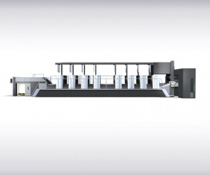 The Speedmaster XL 106 eight-color press with fully automatic printing plate logistics.