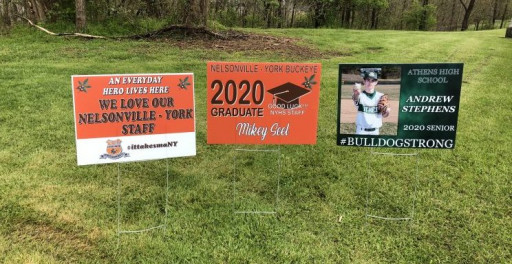 Ohio University's in-plant is printing signs for local high school graduates.