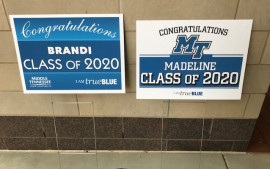 Samples of signs printed by BLUE print Solutions for graduates.
