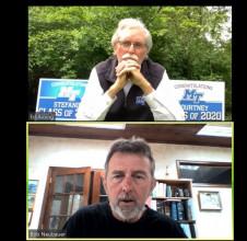 IPI Editor Bob Neubauer (bottom) talks with Middle Tennessee State University's Ed Arning.