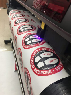 The new Mimaki UCJV300-160 can print and cut floor graphics by the dozen.