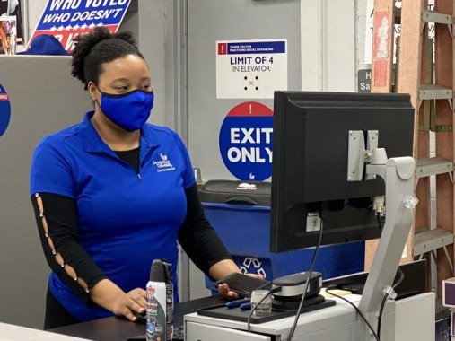 Print Production Specialist Jessica Raymond uses the EFI Fiery controller to send a job to the in-plant's Xerox Versant 3100 color digital press.