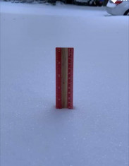 "A measuring stick in the Austin, Texas, yard of Richard Beto, director of UT Austin Document Solutions, shows 7"" of snow."