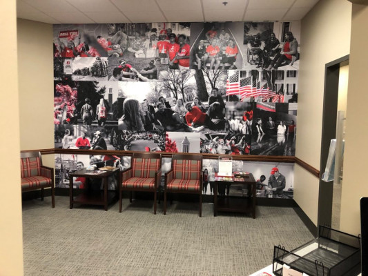 Examples of some of the campus wall graphics being produced by University of Alabama Printing Services.