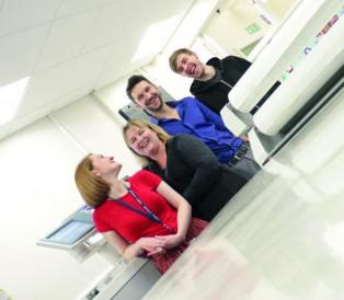 Cardiff Metropolitan University Print Studio staff (from left): Lauren Thomas, Rebecca Bloyce, Richard Ashdown, and Gethin Herbert. (Photos taken pre-pandemic.)