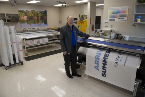 In Sanford Health's wide-format area, which was relocated to the Good Samaritan Society's old facility, Kirk Ellington operates the shop's 64˝ Roland Soljet Pro 4-XR 640 eco-solvent printer/cutter and 54˝ Royal Sovereign RSC-1401HW laminator.