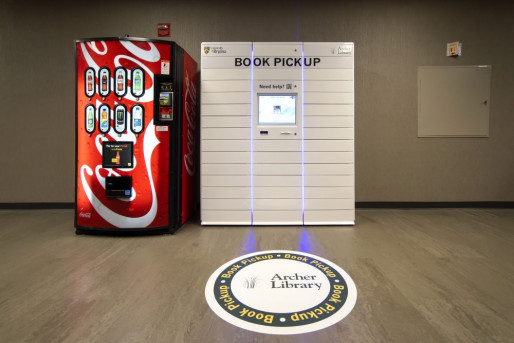 University of Regina Printing Services printed this floor graphic for the library's book locker where students can pick up reserved books after library hours.