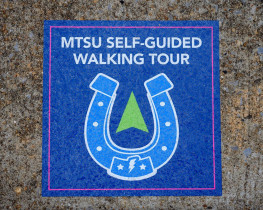 Sidewalk graphics printed by Middle Tennessee State University's in-plant for a self-guided campus walking tour.