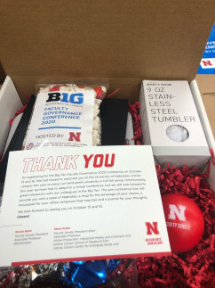 One of 500 gift boxes University of Nebraska-Lincoln Printing and Mail Services packed for attendees of the Big Ten Faculty Governance 2020 Conference last fall.