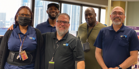 Staff of the Miami-Dade County Internal Services Department (ISD) Print Shop. From left: Laletrice Gavins-Litmon, Sean Smith, David C. Campos, Jesus Arrechea, and Andy Rogers