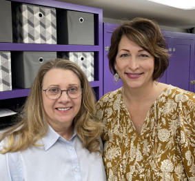 Karen Hodges (left) and Dede Simmons at University of North Alabama Print Services.