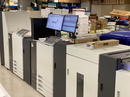 The new Riso Valezus T2100 inkjet printers at the Miami-Dade County Internal Services Department (ISD) Print Shop.