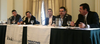 From left to right: Mike Herold of Ricoh, John Conley of Xerox, Francis McMahon of Canon Solutions America, Marc Johnson of Hewlett-Packard, and Jeff Tabbit of Kodak