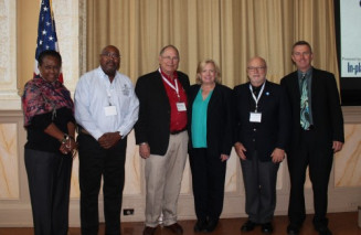 Speakers at the DigiGov conference included (from left) Davita Vance-Cooks (GPO), Paul Sprow (Arlington County), Ray Chambers (Chambers Management Group), Cathy Chambers (Alfred State), Damian McInerney (Virginia DMV) and IPG's Bob Neubauer.