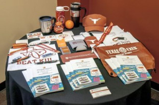 Samples of promotional items offered by UT-Austin's in-plant.