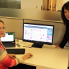 Reviewing an omnichannel customer journey map are Gail Freedman (left), director, technical solutions, SG360º, and Julie Rinard, senior VP, marketing/product management.