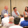 A breakout panel discussion from thINK 2016 featuring, from the left, Pat Foley, Merrill Corp.; Ron Goglia, Cigna; and Christine Soward, DMS Ink.