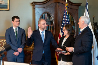 Vice President Mike Pence swore in Government Publishing Office Director Hugh Nathanial Halpern on Jan. 29, 2020.