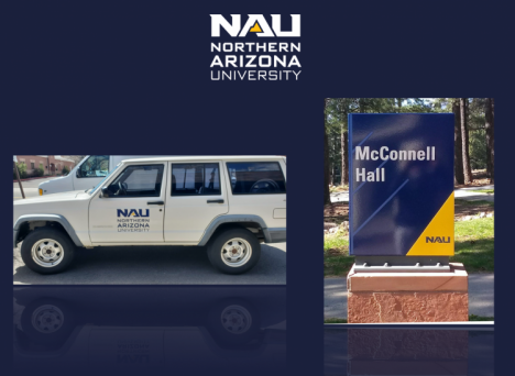 Northern Arizona University Printing Services is using the campus shutdown as an opportunity to replace all the logos on 185 campus vehicles and print campus signage.